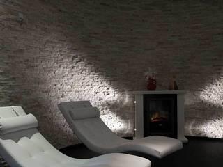 Natuursteenstrips in villa:  Spa door Xcel Stones