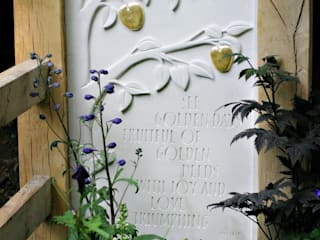 Hand carved Portland stone panel: classic Garden by Martin Cook Studio