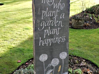 Riven Welsh slate carved standing stone: country Garden by Martin Cook Studio