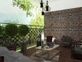 Спальня с балконом и холл в частном доме: Tерраса в . Автор – AnARCHI