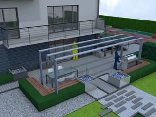 Projekt tarasu i pergoli - Wersja 1 Nowoczesny ogród od UNICAT GARDEN Nowoczesny