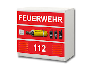 Feuerwehr Möbelfolie für die Kommode 3 Fächer IKEA MALM:   von STIKKIPIX
