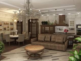 Кухня-гостинная в неоклассическом стиле Гостиная в классическом стиле от Efimova Ekaterina Классический