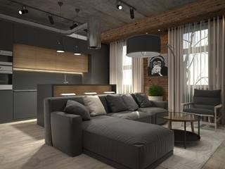 Квартира-студия для холостяка Гостиная в стиле лофт от Elena Arsentyeva Лофт
