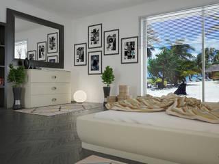 "Render bedroom hotel ""isole Mauritius"" : Hotel in stile  di Santoro Design Render"