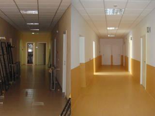 Pasillo central de habitaciones:  de estilo  de LAR arquitectura