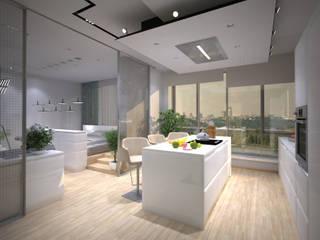 """Интерьер однокомнатной квартиры в жилом комплексе """"RiverStone"""": Кухни в . Автор – Архитектурная студия 'Горбань'."""