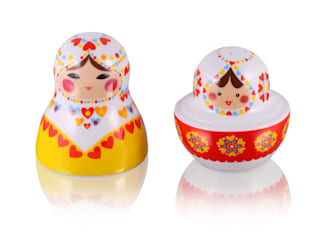 Solniczki i pieprzniczki z porcelany: styl , w kategorii  zaprojektowany przez Silly Design - prezentowa porcelana