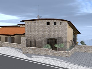Rendering ingresso villa: Case in stile  di Mater-icon progettazione architettonica