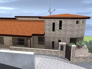 Rendering fronte ovest - Torretta e cancellino pedonale: Case in stile  di Mater-icon progettazione architettonica
