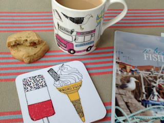 Seaside Fun Mug & Coaster set:   by New House Textiles Ltd