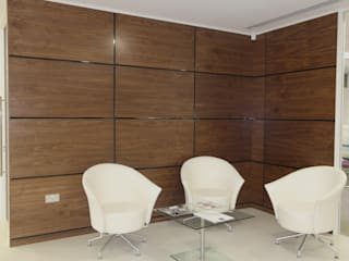 Walnut Artizo Wall Panels With Black Gloss Moulding:  Study/office by The Wall Panelling Company