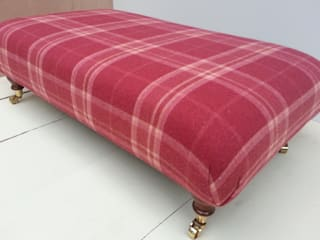 Laura Ashley Highland Check Wool Mix Footstools: country  by Herts Upholstery , Country