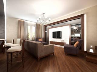 Минимализм в доме: Гостиная в . Автор – Дизайн студия 'Чехова и Компания'