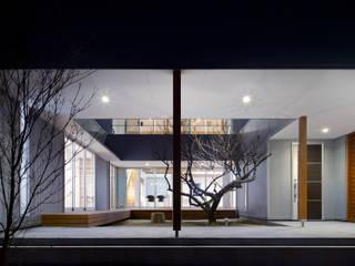 夕景:中庭の梅の木: 有島忠男設計工房が手掛けた庭です。