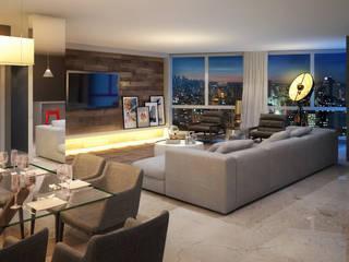 M355, Edificio de Lofts duplex - Porto Alegre / Brasil hola Salas de estar modernas