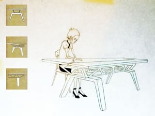 Vakwerkligger tafel in eik en esdoorn: modern  door wilfred kalf, Modern