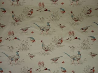 Pheasants Linen Cotton Tapestry Fabric Kingfisher Blue:   by The Millshop Online