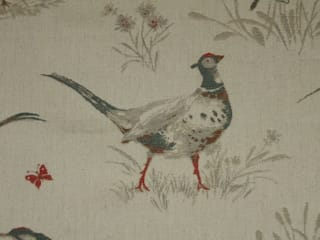 Pheasants Linen Cotton Tapestry Fabric Red Grey:   by The Millshop Online