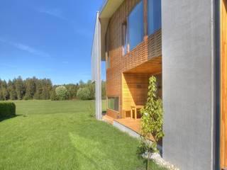 Betonschale und Holzgeflecht:  Terrasse von kleboth lindinger dollnig