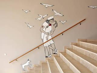 speziell angefertigte Wandmalerei - Interiordesign Hotel Berlin:   von Fine Rooms Design Konzepte GmbH
