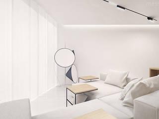 The Wall Minimalistyczny salon od Mess Architects Minimalistyczny