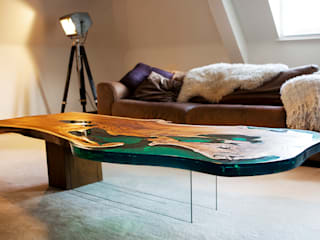 'Sea Horse' design coffee table side view:   by Neil Scott Furniture Limited