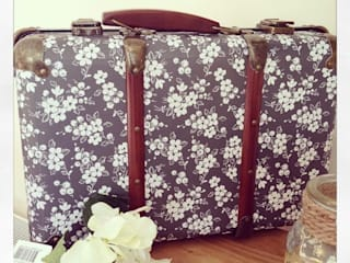 Beautiful Vintage Shabby Chic Suitcase - Colette Black & White Floral:   by ihearthomes