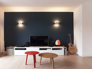 Flat in Annecy Antoine Chatiliez Modern Living Room Wood Blue