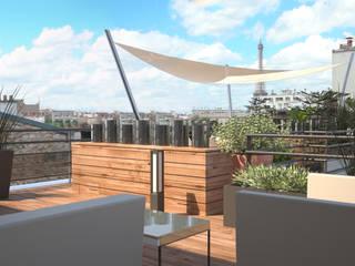 Vue d'ambiance depuis la terrasse: Terrasse de style  par RM Architecte
