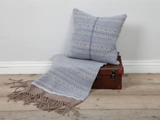 Soft blue/ linen 100% Lambs wool Cushion & Throw:   by Suzie Lee Knitwear