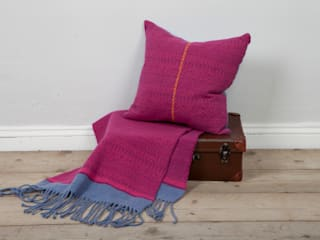 Knitted Fair Isle cushion with cross stitch:   by Suzie Lee Knitwear