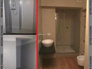 Intervento di Home Staging in residenza privata a Piacenza, dettaglio del bagno.:  in stile  di Living Home Staging