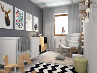 Biało Szary Czarny: styl , w kategorii Pokój dziecięcy zaprojektowany przez DOMagała Design