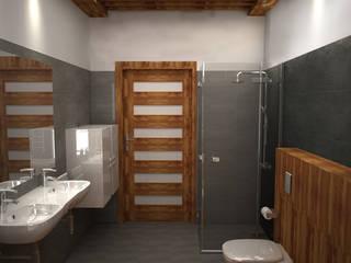 Łazienka No.2 Wood and Gray : styl , w kategorii  zaprojektowany przez Studio Minimal