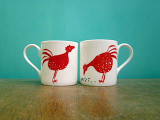 Red chickens mug:   by The Black Rabbit