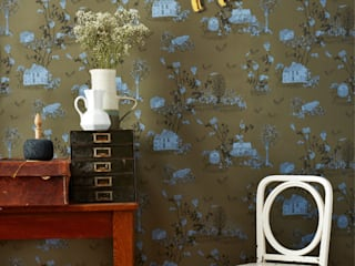 Woodlands Wallpaper Khaki Blue:   by Sian Zeng