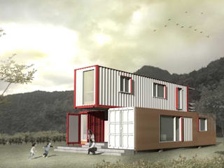 Container house rendering: modern Houses by thinkTREE Architects and Partners