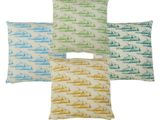 """Hand Printed British Woven 18"""" Cushions in Clouds Print:   by Sarah Waterhouse"""