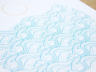 Waves A3 screen print: modern  by The Lost Fox, Modern