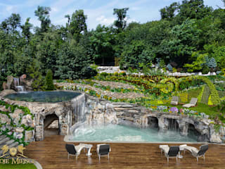 Taras z basenem i grotą skalną Twoje Miejsce Nowoczesny balkon, taras i weranda
