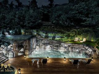 Taras z basenem i grotą skalną Twoje Miejsce Nowoczesny basen
