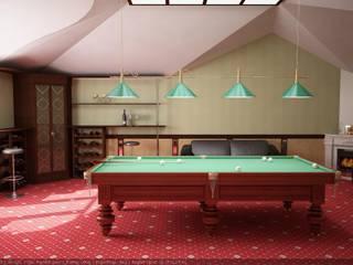 Бильярдная на мансардном этаже: Тренажерные комнаты в . Автор – Цунёв_Дизайн. Студия интерьерных решений.