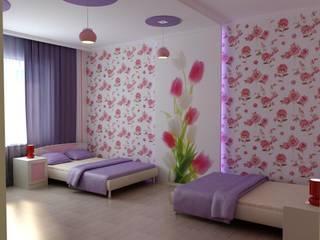 Детская для двух девочек: Детские комнаты в . Автор – Цунёв_Дизайн. Студия интерьерных решений.