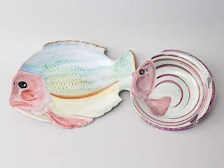 Assiettes poisson - Atelier Soleil, faïencier à Moustiers:  de style  par Atelier Soleil