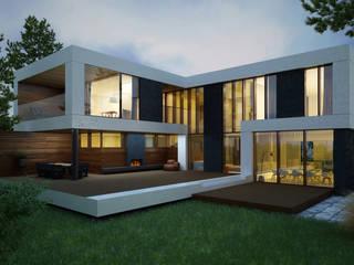 Minimalistyczne domy od ALEXANDER ZHIDKOV ARCHITECT Minimalistyczny