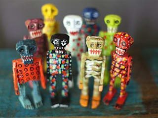 Hand Carved Mexican Wooden Skeletons Vintage Archive 藝術品其他藝術物件