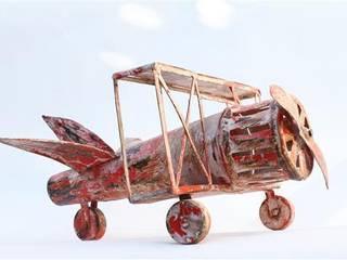 Tin Toy Bi-plane Aeroplane Vintage Archive Interior landscaping