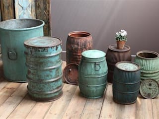Recycled Drum Planters Vintage Archive 花園植物盆栽與花瓶