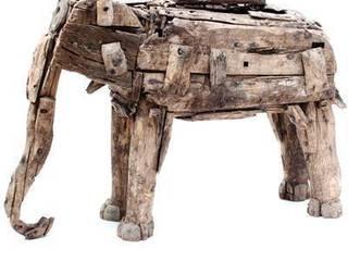 Antique Wooden Elephant Vintage Archive ArtworkSculptures